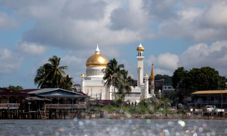 Bandar Seri Begawan Brunei upriver showing the Sultans Palace