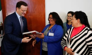German health minister Jens Spahn delivers invitations to Mexican nurses in Mexico City to visit Germany.
