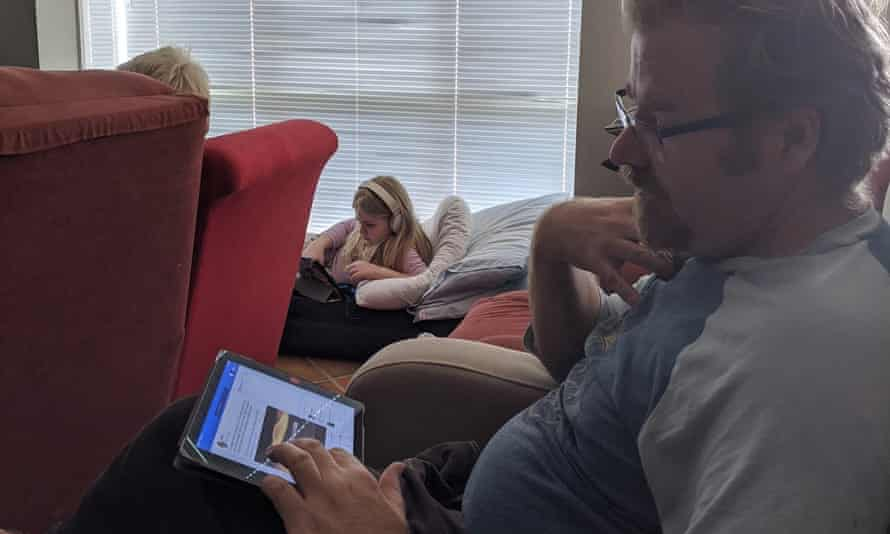 The Russell family during their living room recreation of a 15-hour flight from Sydney to Munich while in coronavirus lockdown