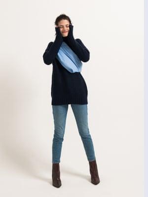 model wears jumper, £150, filippa-k.com. Jeans, £109.46, madewell.com. Boots, £175, jigsaw-online.com. Belt bag, £59, cosstores.com.