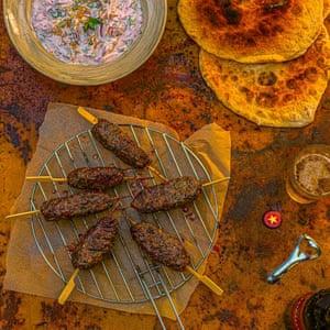 Spiced lamb kofta with radish, spring onion, goat's cheese and dill raita.