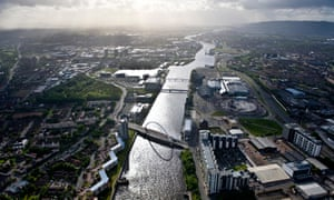 Aerial view of river Clyde running through Glasgow