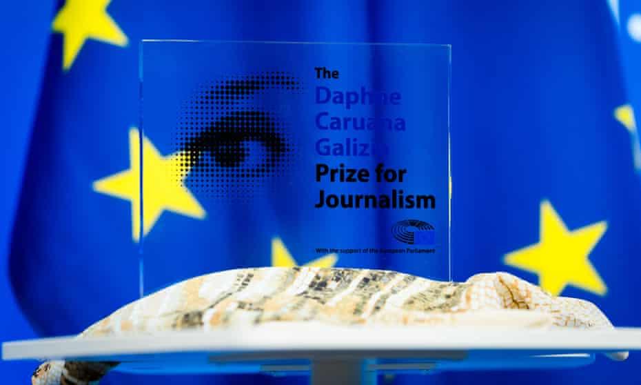 Daphne Caruana Galizia prize for journalism trophy