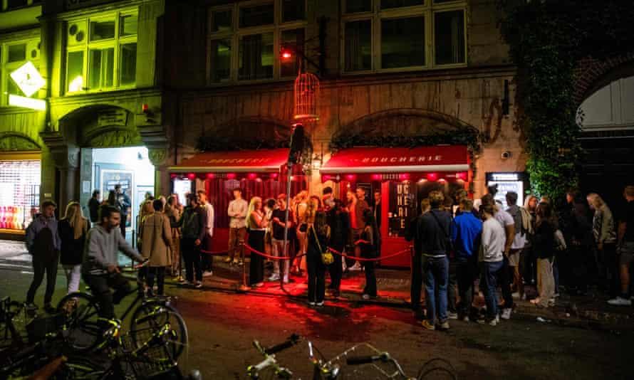 People outside a nightclub in Copenhagen on 2 September 2021