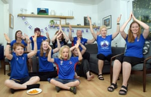 Iceland football fan Silla Johannesdottir  (on right) with friends, London, 22 June 2018