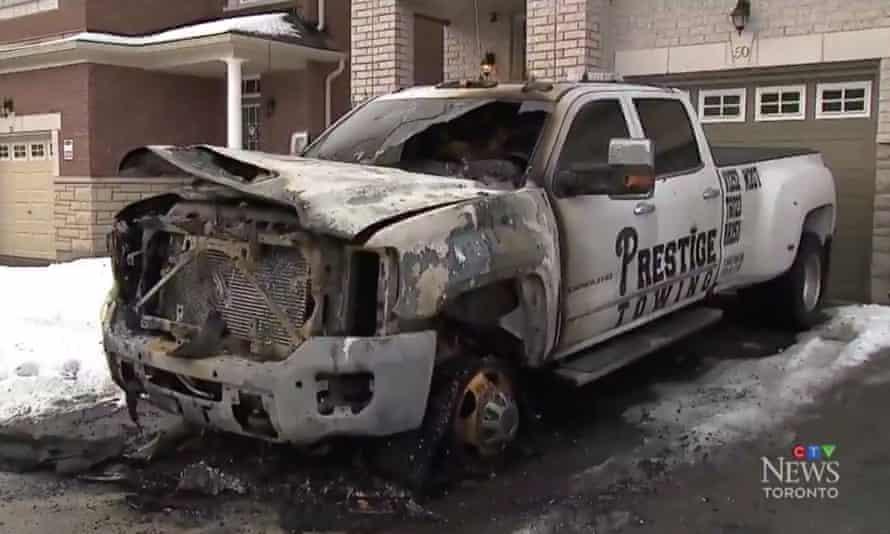 Screenshot from a CTV News Toronto news broadcast regarding a string of tow truck fires.