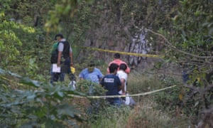 Federal police and medical personnel inspect a ditch where at least six bodies were found half-buried in Acapulco in Guerrero state on 22 April 2017.