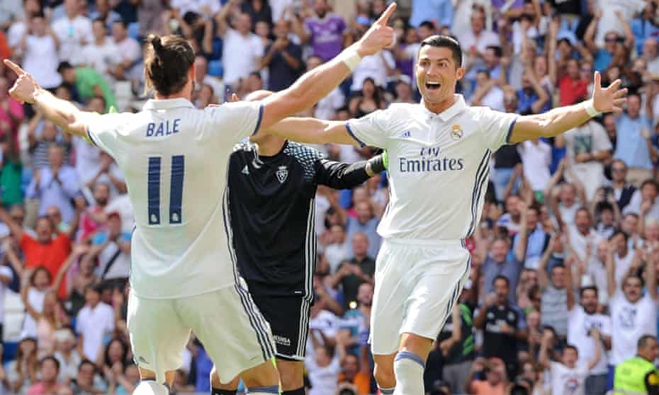 Cristiano Ronaldo celebrates after being set up by Gareth Bale to open the scoring.