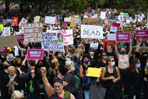 "An estimated 10,000 protesters chanted ""enough is enough"" during the Women's March 4 Justice in Melbourne."
