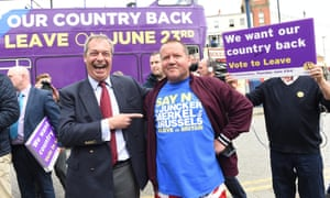 Nigel Farage poses with voters as he continues his Leave campaign in Ramsgate, Kent.