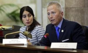 Jeff Van Drew speaks at a New Jersey senate committee meeting in 2016.
