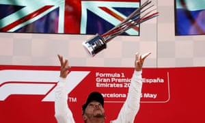 Lewis Hamilton celebrates after the race