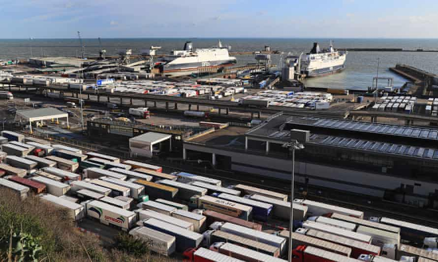 Lorries queue for ferries at the port of Dover in Kent.