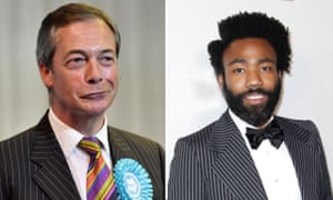 Nigel Farage and Donald Glover in pinstripe suits
