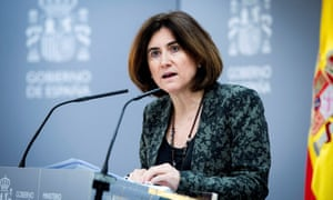 The deputy head of the Spanish Health Ministry's Coordination Center for Health Warnings and Emergencies (CCAES), Maria Jose Sierra, speaks during a press conference to inform about the evolution of the ongoing coronavirus pandemic in the Mediterranean country, in Madrid, Spain, on Thursday.