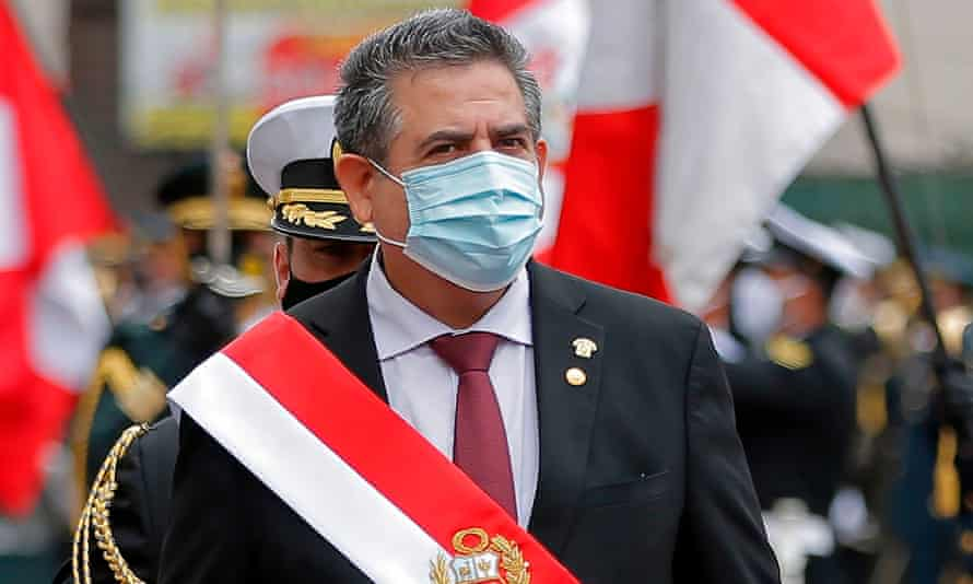 The head of the Peruvian Congress, Manuel Merino, after being sworn in as interim president in Lima on Tuesday.