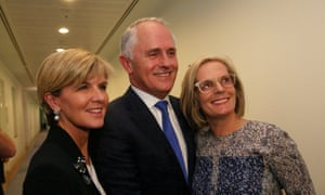 Prime Minister designate Malcolm Turnbull with his wife Lucy and deputy designate Julie Bishop after a press conference in the Blue Room of Parliament House in Canberra this evening, Monday 14th September 2015.