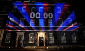 The countdown clock at 10 Downing Street reaches zero as Britain leaves the EU