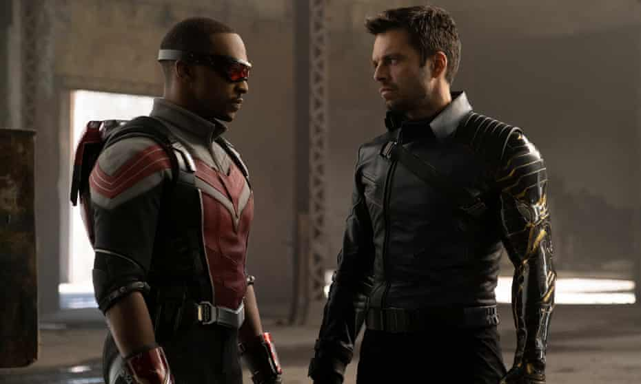 Facing off ... Sam Wilson (Anthony Mackie) and Bucky Barnes (Sebastian Stan) in Disney+ series The Falcon and the Winter Soldier.