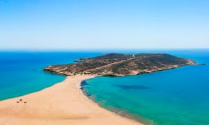 Aerial birds eye view drone photo Prasonisi on Rhodes island Panorama with nice lagoon, sand beach and clear blue water.