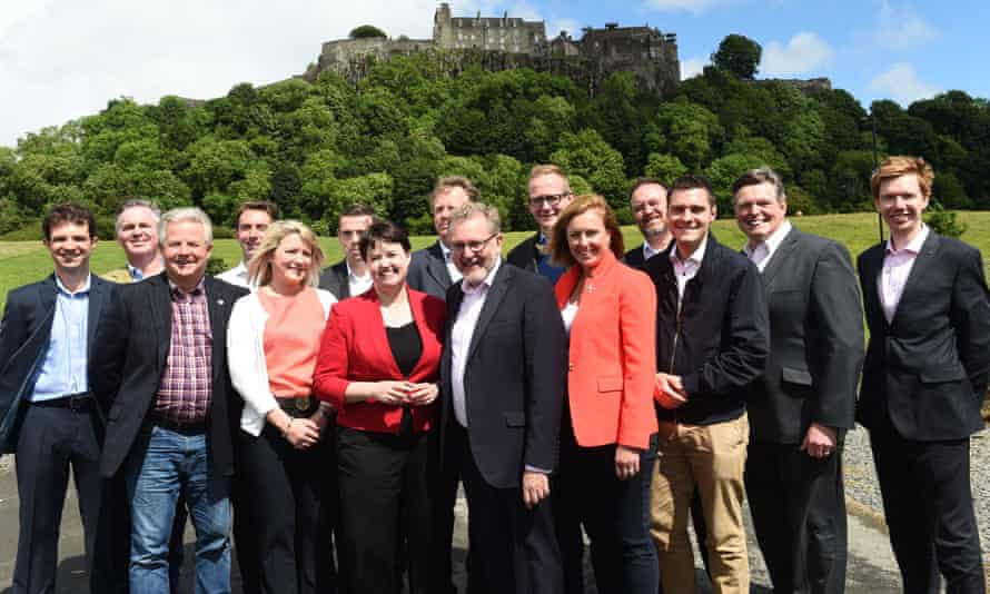 The Scottish Tory leader, Ruth Davidson, with the party's newly elected MPs
