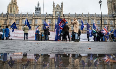 Anti-Brexit protesters outside the Houses of Parliament in London.