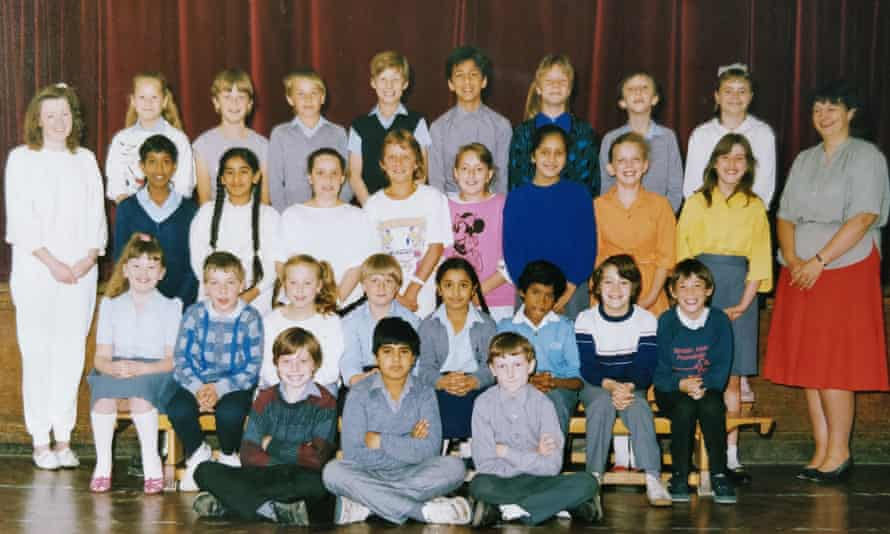 Miss Heaphy (left, in white) and class ... Sonia is next to her in a blue jumper. Photograph courtesy Sonia Sanassy