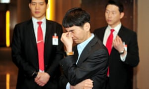 The world's top human Go player Lee Sedol reacts before the fourth match of the Google DeepMind Challenge Match against Google's artificial intelligence program AlphaGo in Seoul, South Korea. Out of five matches, Lee lost 4-1.