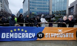 Protestors wearing masks depicting EU health commissioner Vytenis Andriukaitis (L) and European Commission president Jean Claude Juncker (R) demonstrate against a five-year extension of the license for glyphosate in Brussels, 27 November.