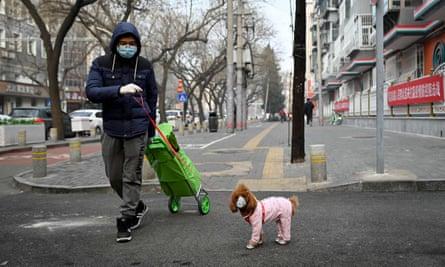 CHINA-HEALTH-VIRUSA man wearing a face mask walks his dog in Beijing.