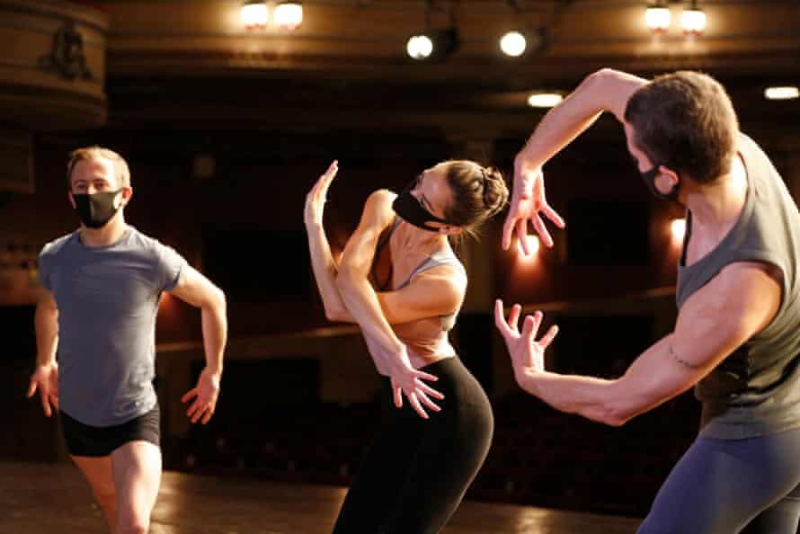 Scottish Ballet dancers rehearse ahead of filming for the Edinburgh international festival, August 2020.