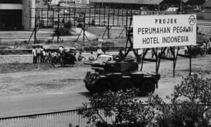 Indonesian troops in Jakarta following the attempted 1965 coup.