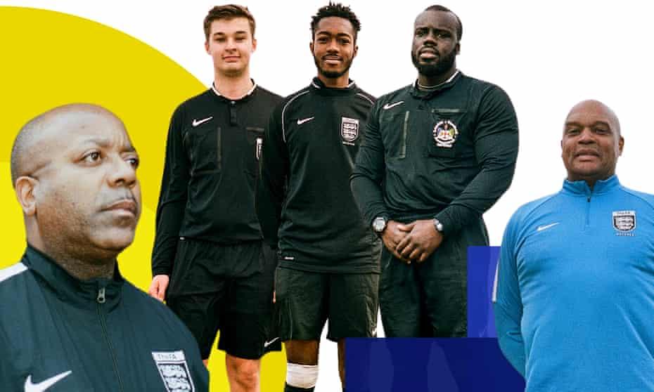 Sunday League referees Jermaine Wright, Jacob Miller, Jordan Dixon-Walker, Nathan and Julius.