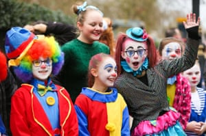 Performers getting ready for the New Year's Parade in London