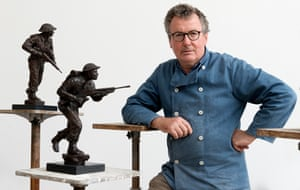 David Williams-Ellis with maquettes of his D-day sculptures.