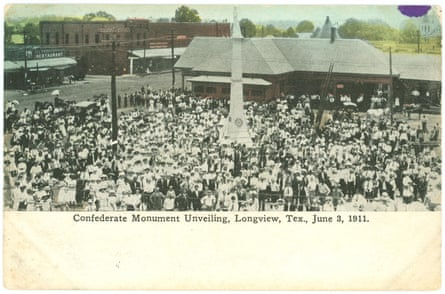 In the early 20th century in Longview, Texas, the United Daughters of the Confederacy named a chapter after Amy O'Rourke's great-great-great-grandfather Richard B Levy, who fought for the Confederacy. In 1911 the UDC erected a statue of a Confederate soldier in downtown Longview. Amy's great-grandmother Margaret Levy unveiled the statue, in a ceremony shown here.