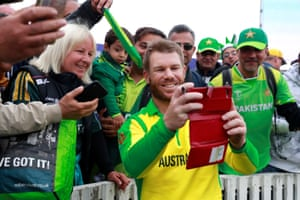 It's selfie time for man of the match David Warner.
