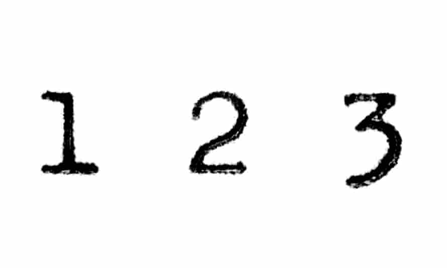 the numbers one, two and three.