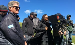 Ava DuVernay and some of the crew during filming