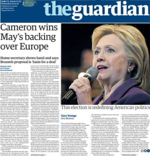The Guardian front page story.
