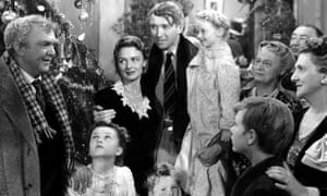Henry Travers, Donna Reed, James Stewart and Karolyn Grimes in It's A Wonderful Life.