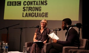 Jo Whiley listens to Sugar J Poet read a poem about her that he composed during her live Radio 2 show at Hull College