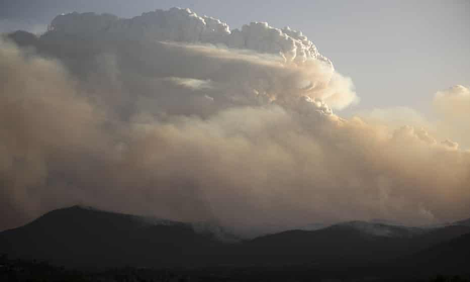 A pyrocumulonimbus cloud generated by the intense Orroral Valley bushfire south of Canberra, 31 January 2020