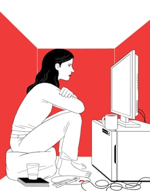Illustration: Michael Kirkham - woman sitting in box room