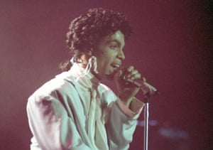 Prince performs during his Sign o' the Times Tour in West Berlin, Germany