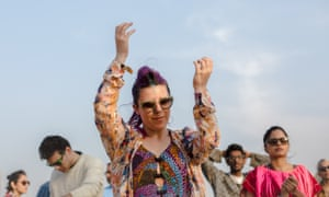 Festivalgoers dance as Indian act Delhi Sultanate perform at the Magnetic Fields festival in Rajasthan.