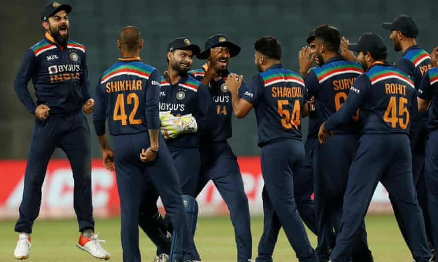 Shardul Thakur celebrates the dismissal of Jos Buttler as India progressed towards their series triumph in Pune.