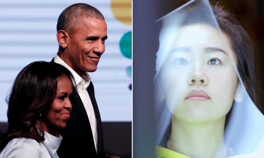 'The Obamas told us they appreciated a film that gives a voice to working people' … the film's producers Michelle and Barack Obama; and a worker handling glass in American Factory.