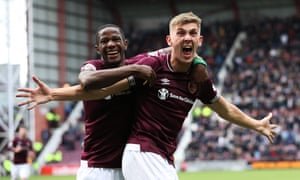 Jimmy Dunne celebrates after scoring Hearts' second goal against St Johnstone.
