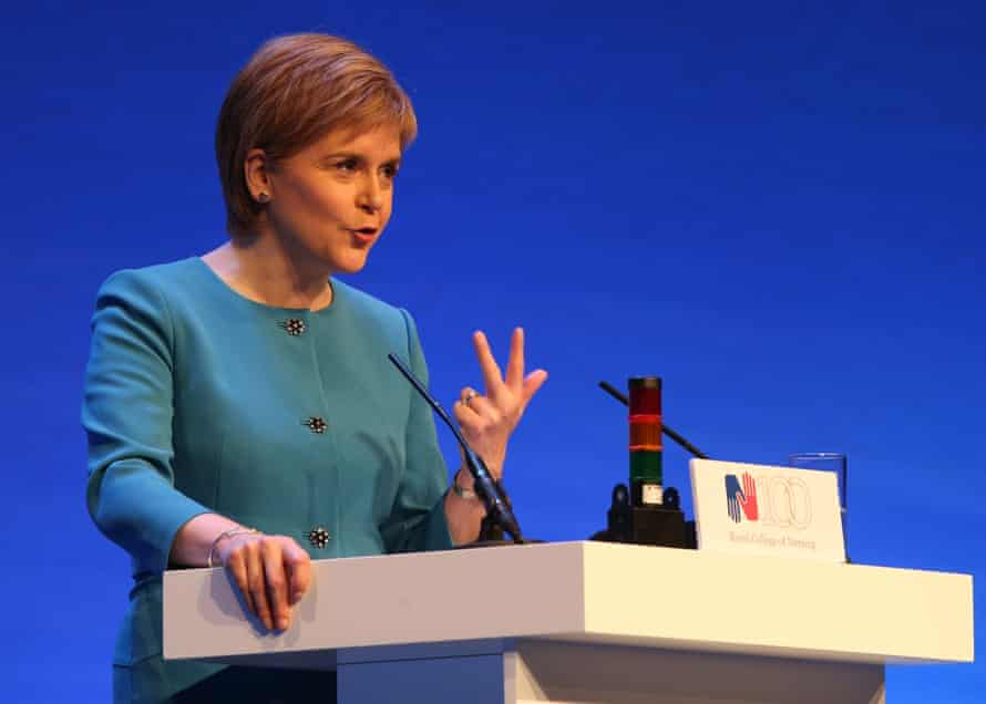 Nicola Sturgeon at the Royal College of Nursing (RCN) congress in Glasgow, where she guaranteed to retain free tuition and bursaries in Scotland